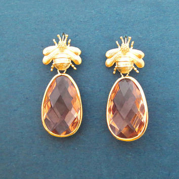Queen bee, Orange, Champagne, Glass, Gold, Earrings, Birthday, Best friends, Sister, Gift, Jewelry