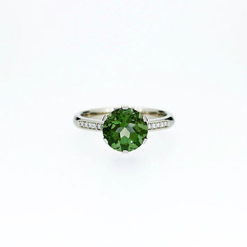 Green tourmaline solitaire engagement ring, white gold ring, diamond engagement ring, tourmaline wedding, unique, green engagement, custom