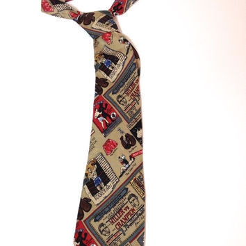 Boxing Theme, Novelty Silk Tie by American Fashion Designer Nicole Miller, Silk Necktie, Fun Funky Tie, Cartoon Neckwear, Shadow Boxing, TKO