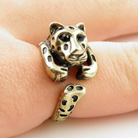 Leopard Animal Wrap Ring - GOLD - Size 6