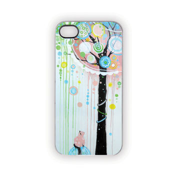 iPhone Case, 5, 4S/4, Hello Pink Kitty, Tree, Nature, Rain, Cat, Pets, Dots, Whimsical, Aqua, Yellow, Black, White, Green, Patterns