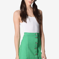 Ellen A-Line Denim Skirt - Green