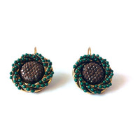 Sparkling Beaded Earrings, Dark Green, Moss Green, Brown, Glittering Beads, Round