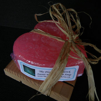 Hot Pink Heart Shaped Sparkling Sweet Pea Scented Glycerin Soap
