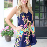 Makes Me Smile Dress - Navy