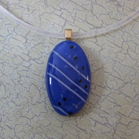 Royal Blue Necklace, White Stripes, Glass Jewelry, Oval - On My List - 1523