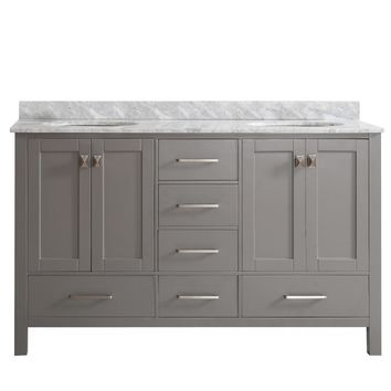 Gela 60-inch Grey Double Vanity with Carrera White Marble Top without Mirror