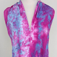 Infinity Scarf Hand Dyed in Deep Pink and Bright Blue 210