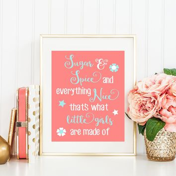 Sugar & and Spice Quote Wall Art, Baby Girl Nursery Art, Coral Aqua Nursery Decor, Girl Bedroom Wall Decor, Girl Quote CANVAS or Print 1 One
