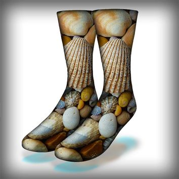 Sea Shells Crew Socks Novelty Streetwear
