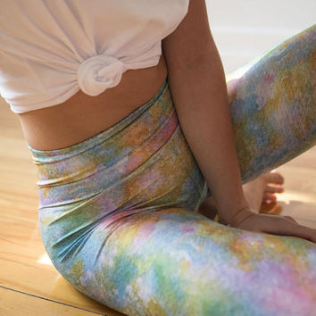 Mermaid Leggings, Hula Hoop Clothing, Aerial Leggings, Hand Painted Design,  long leggings, Aerial Hoop clothing, festival clothing
