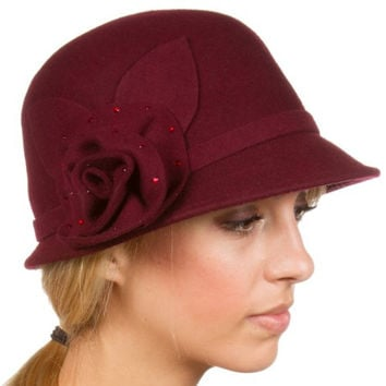 Sakkas 12CY Jewel Vintage Style Wool Cloche Bell Hat - Burgandy - One Size