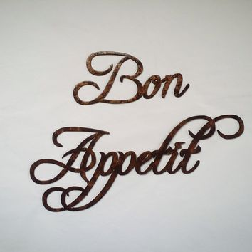 Bon Appetit Words Medium Sized Antique Copper Metal Wall Art Home Decor