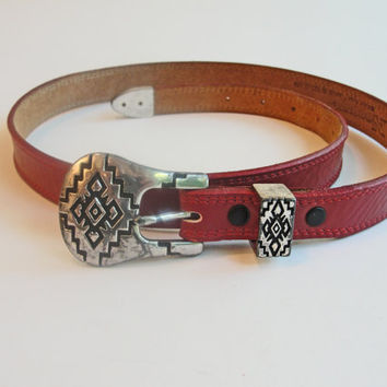 Red Leather Nocona Womans Narrow Western Belt - Vintage 80s Size Medium - Made In Texas Casual Styles