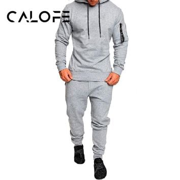 CALOFE Autumn Men Sportwear Pants Jackets Tracksuit Men's Hoodie Sportswear Sweat Suit Camouflage Tracksuits Outwear Set