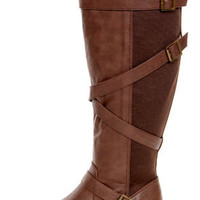 Soda Warm Dark Tan Back Gusset Belted Riding Boots