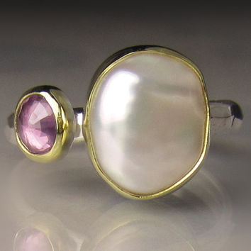 Natural Baroque Pearl and Pink Sapphire Ring - 18k Gold and Sterling Silver Two Stone Cocktail Ring