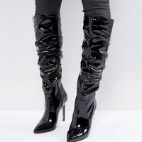 ASOS CRUSHED Slouch Pointed Knee Boots at asos.com