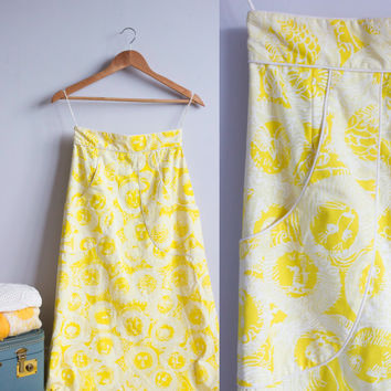 Lilly Pulitzer vintage maxi skirt 60s, yellow, lion print, deep front pockets, high waist a-line skirt