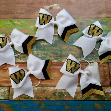 Glitter Monogram Cheer Bow, Glitter Cheer Bows, Monogrammed Gifts, Big Cheer Bow, Cheerleaders, Cheer Camp Bows for Cheer