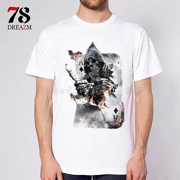 men grim Reaper skull T-shirt Black Print shirt Hip Hop street rock T-shirts for men