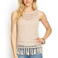 LOVE 21 Loose-Knit Fringed Top Cocoa Large