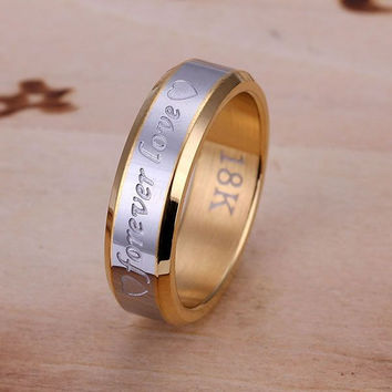 Silver plated  Ring Fine Forever Love Steel Ring Women Men Gift Silver Jewelry