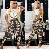 YSL Fashion Women Casual Print Short Sleeve Top Pants Trousers Sport Set Two-Piece