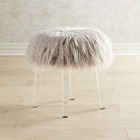Shaggy Gray Vanity Stool