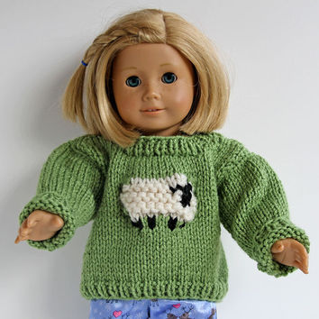 Green Hand Knit Sweater with Fluffy Sheep for American Girl Doll, Pullover for 18 Inch Doll, Hand Knitted Animal Sweater for Dolls