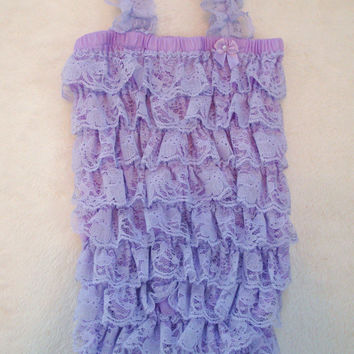 Lavender Lace Petti Romper-Baby Girl-Preemie-Newborn-Shabby Flower Bow-Infant-Child-Clothes-Toddler-Photography Prop-Unique-Birthday-purple