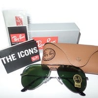 Cheap Rayban RB3025 L2823 Black Ray-Ban Aviator Black/Green Sunglasses 58mm G-15 Lens outlet