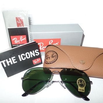 Rayban RB3025 L2823 Black Ray-Ban Aviator Black/Green Sunglasses 58mm G-15 Lens
