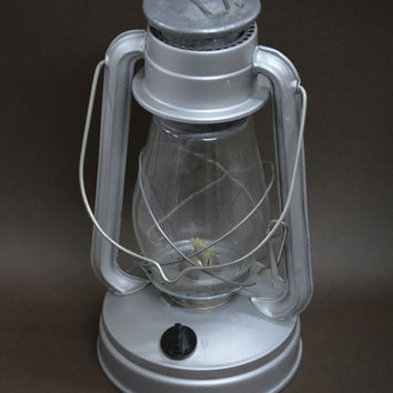 Russian Oil Lamp /Lantern/, Vintage Original Oil Lamp, Unused, Kerosene Lamp, Vintage Lantern,Rustic Lantern, Gray Oil Lamp