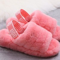Hight Quality UGG Slippers New Women's Fashion Fluff Yeah Slipper Slide Pink