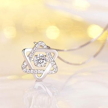 925 Sterling Silver Star of David with CZ Necklaces Pendants