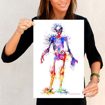 "Watercolor Skeleton, Fine Art Print, 11"" x 17"", Anatomy Medical print, Nurse Graduation gift, Medical Student gift, Doctors Waiting Room art"