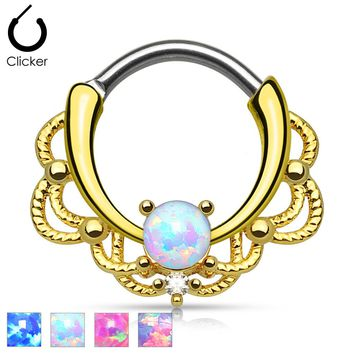 Lacey Single Opal Set 14KT Gold Plated Septum Clicker