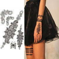 1pcs 24 Styles Lace Flash Tattoo Black Color Face Body Paint Oil Painting Art Make Up Halloween Party Fancy Dress Makeup Tools
