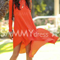 Simple Round Neck Long Sleeve Solid Color Chiffon Dress