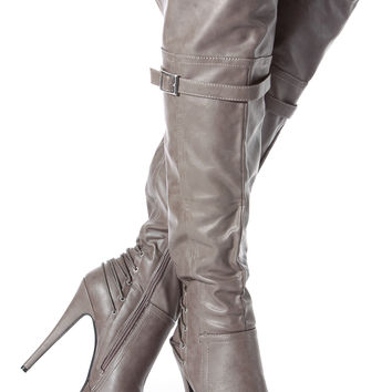 Taupe Faux Leather Thigh High Platform High Heel Boots