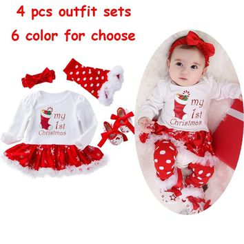 Baby Girl My First Christmas Romper Dress Clothes Tutu Skirt Outfit + Shoes + Leg Warmer + Headband 4pcs Set Long Sleeve Jumpsuit