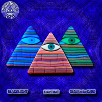 EyeGloArts Awesome Illuminati Glow in the Dark Pyramid Pendant in Purple Orange and Pink American Made Blacklight jewelry
