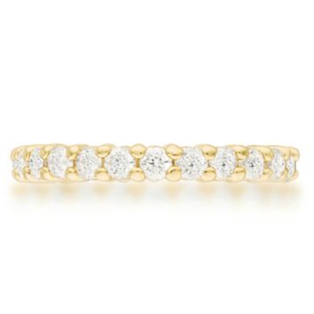 Krista Gold Eternity Round Cut Stackable Ring | 2ct | 18k Gold | Cubic Zirconia