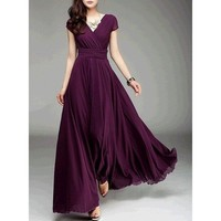 Women's Fashion Bohemian Maxi Dress Evening Dress V-neck