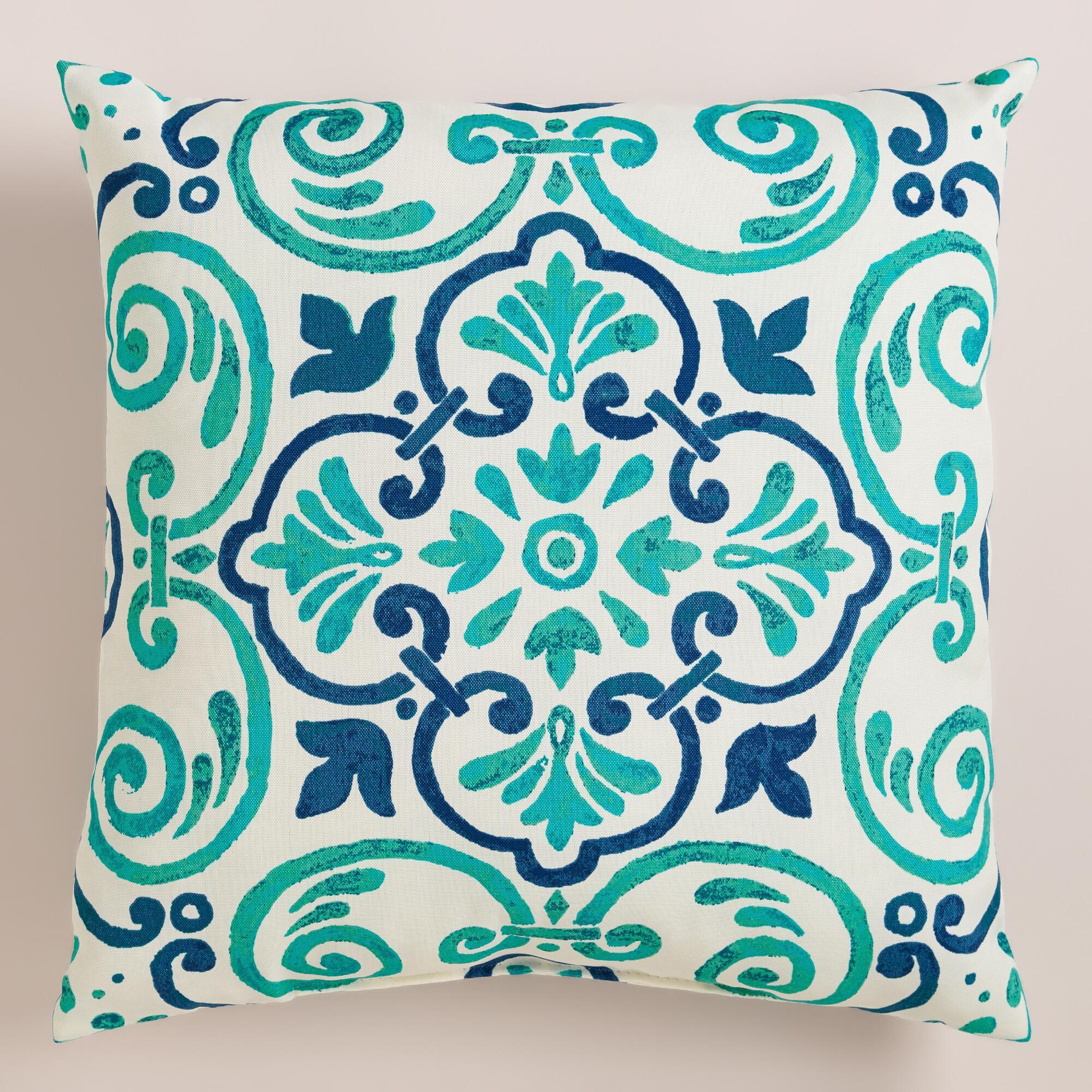 Turquoise Tiles Outdoor Throw Pillow From Cost Plus World