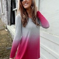 Ombre Tunic Dress In Hot Pink