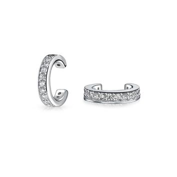 CZ Band Cartilage Ear Cuff Earrings Rose 14K Gold Plated Silver