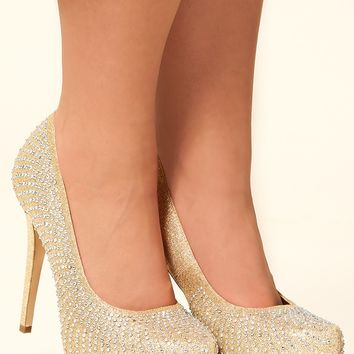 Glamorous In Gold Heels: Gold - Shoes - Hope's Boutique