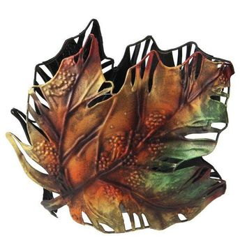 MDIGMS9 6' Autumn Colored Maple Leaf Metal Thanksgiving Leaf Votive Candle Holder